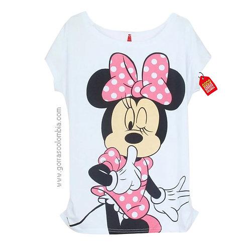 camiseta blanca para niña de minnie rosa