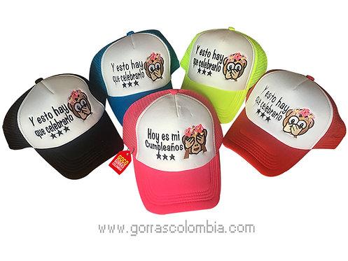 gorras varias frente blanco para fiesta cumpleaños