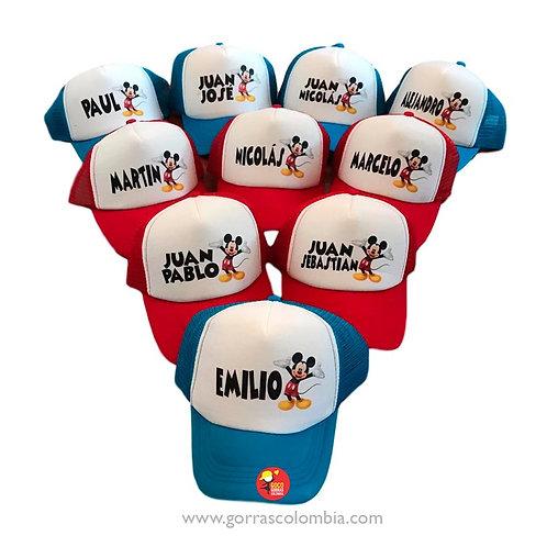 gorras varias frente blanco para fiesta mickey