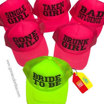 gorras fucsia y verde neon unicolor para fiesta bride to be