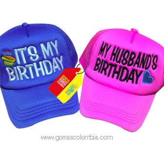 gorras azul y fucsia unicolor para fiesta birthday esposos