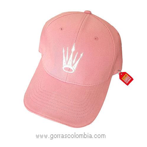 gorra rosada unicolor personalizada corona