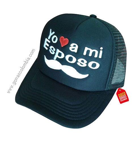 gorra negra unicolor para familia yo amo a mi esposo