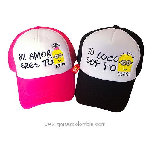 gorras negra y fucsia frente blanco para pareja mi amor eres tu minions