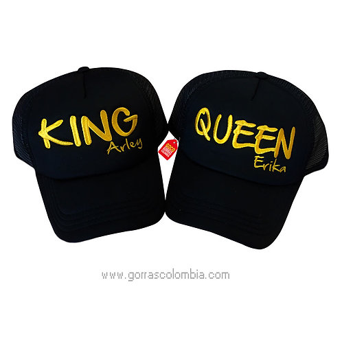gorras negras unicolor para pareja king y queen nombres
