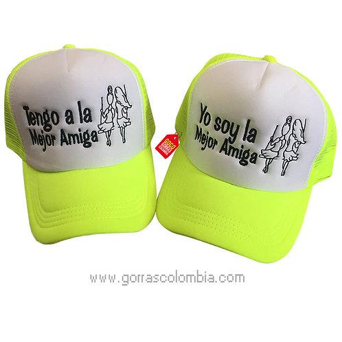 gorras verde neon frente blanco para amigas mejor amiga