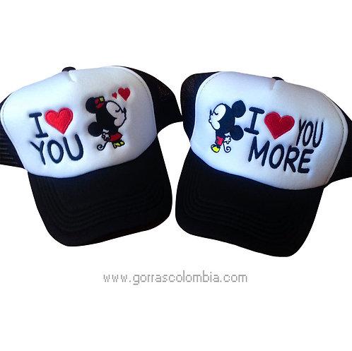 gorras negras frente blanco para pareja i love you mickey