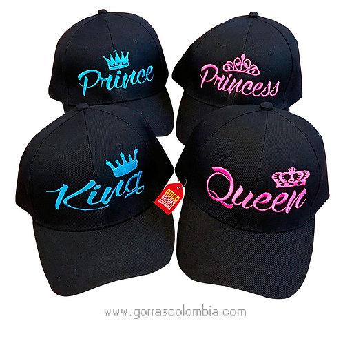 gorras negras unicolor para familia king, queen, prince y princess