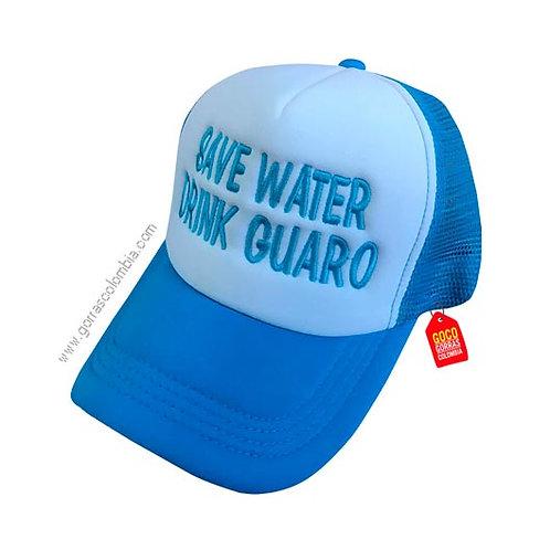 gorra azul frente blanco personalizada drink guaro