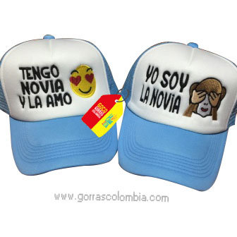 gorras azules frente blanco para pareja tengo novia emojic