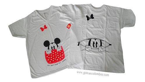 camisetas blancas para familia embarazadas de mickey