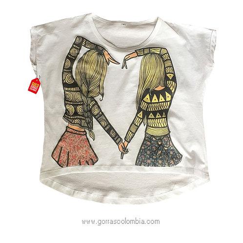 camiseta blanca para amigas mujeres