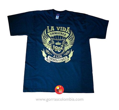 camiseta azul personalizada la vida comienza