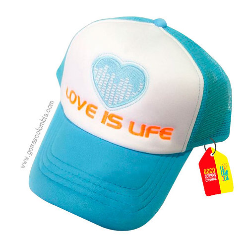 gorra azul frente blanco personalizada love is life