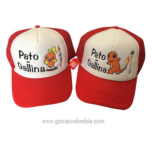 gorras rojas frente blanco para pareja pato gallina