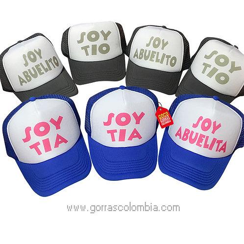 gorras gris y azul frente blanco para familia abuelitos y tios