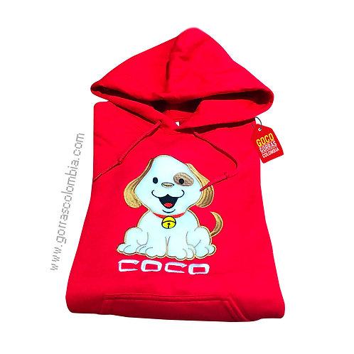 buso rojo con capota para niño mascota