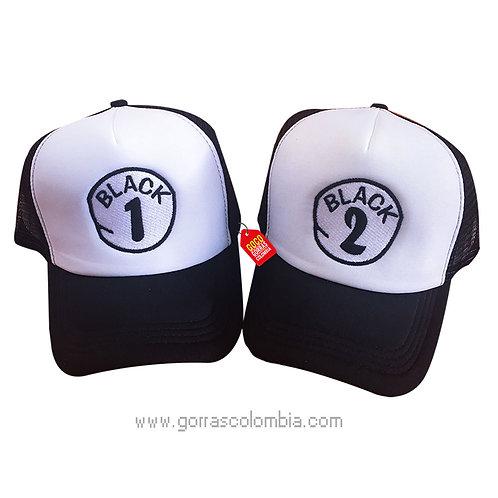 gorras negras frente blanco para pareja black