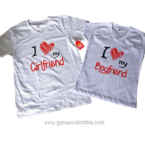 camisetas blancas para pareja de girlfriend y boyfriend