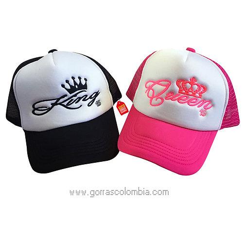 gorras negra y fucsia frente blanco para pareja king y queen numero
