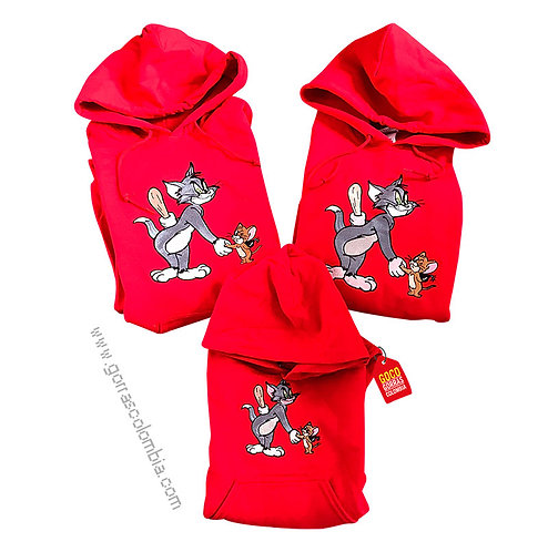 busos rojos con capota para familia de tom y jerry