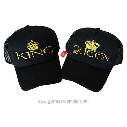 gorras negras unicolor para pareja king y queen