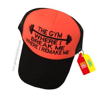 gorra negra frente naranja personalizada the gym