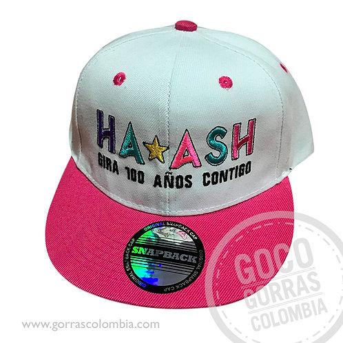gorra blanca visera fucsia personalizada ha ash