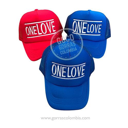 gorras roja y azul unicolor para familia one love