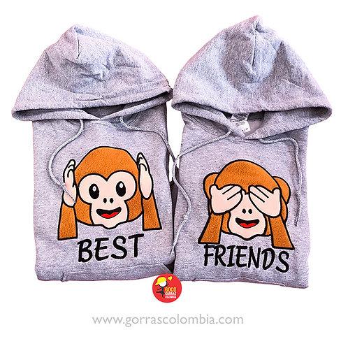 busos grises con capota para amigas best friends emoji mono