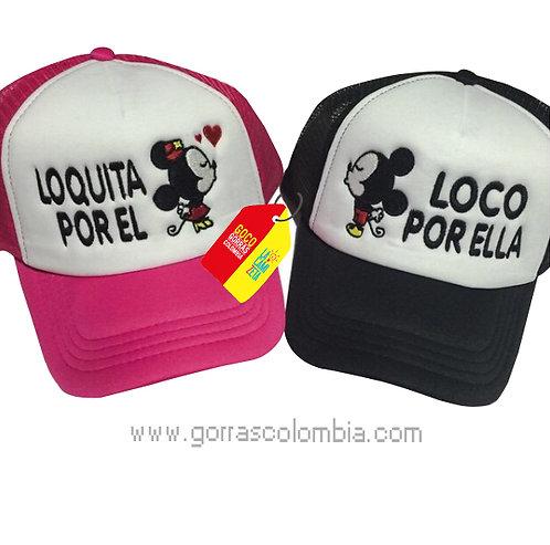 gorras negra y fucsia frente blanco para pareja loco y loquita