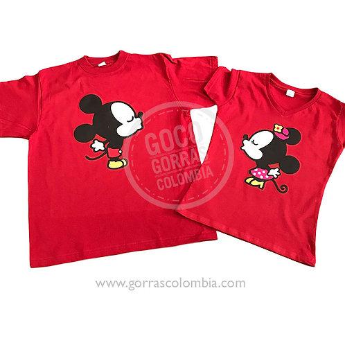 camisetas rojas para pareja mickey