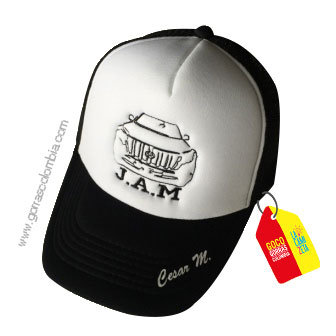 gorra negra frente blanco para niño carro