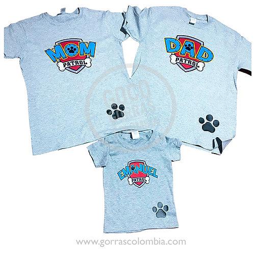 camisetas grises para familia patrulla canina