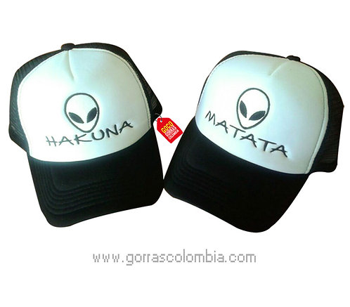gorras negras frente blanco para pareja hakuna matata aliens