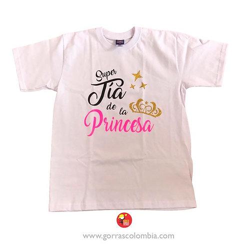 camiseta blanca personalizada super tia de la princesa