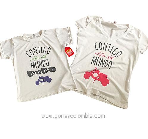 camisetas blancas para familia contigo al fin del mundo