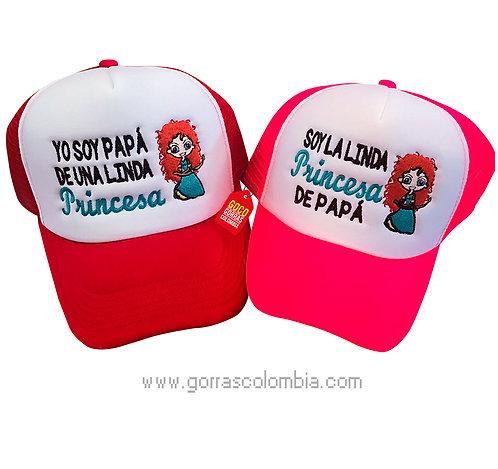 gorras roja y fucsia frente blanco para familia valiente papá y princesa