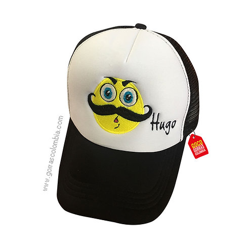 gorra negra frente blanco personalizada emoji mostacho