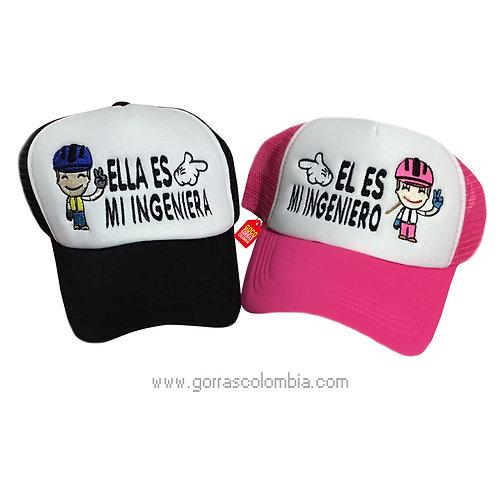 gorras negra y fucsia frente blanco para pareja ingeniero e ingeniera