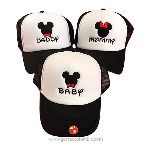 gorras negras frente blanco para familia mickey daddy, mommy y baby