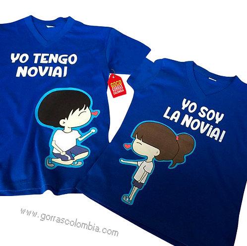 camisetas azules para pareja yo tengo novia