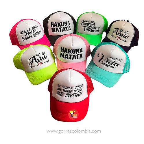 gorras varias frente blanco para fiesta hora loca frases