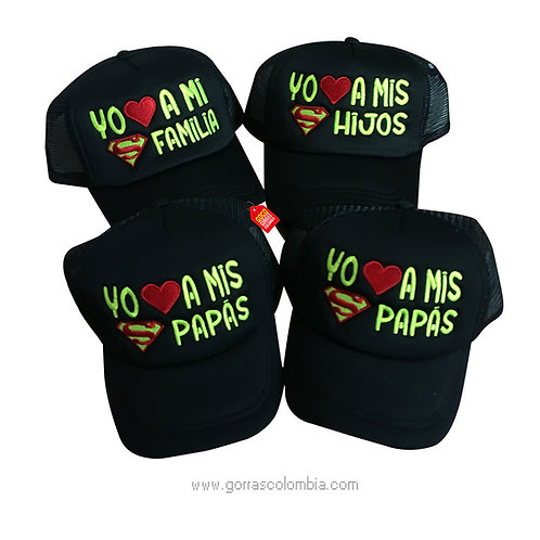 gorras negras unicolor para familia super familia