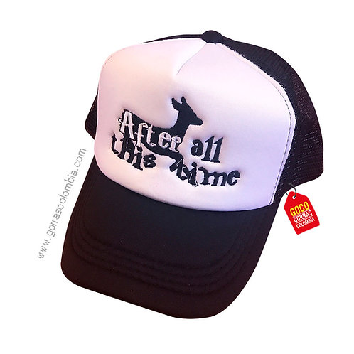 gorra negra frente blanco personalizada after all this time