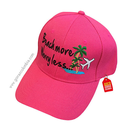 gorra fucsia unicolor personalizada beach more worry less