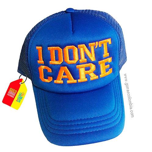 gorra azul unicolor para niño i dont care