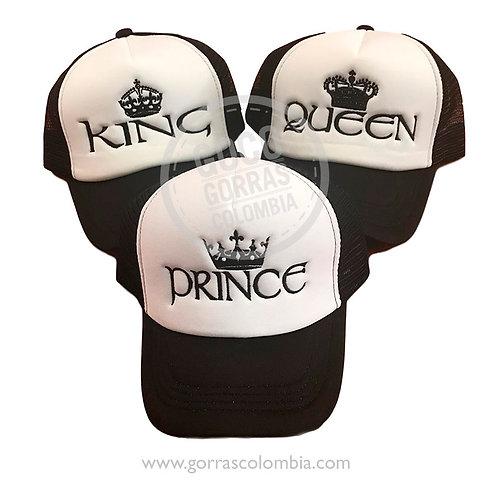 gorras negras frente blanco para familia king queen prince