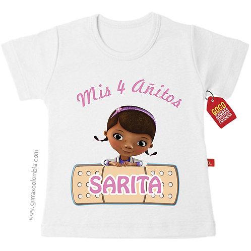 camiseta blanca para niña de doctora juguetes cumpleaños