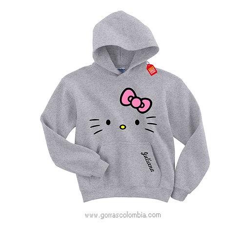 buso gris con capota para niña hellow kitty